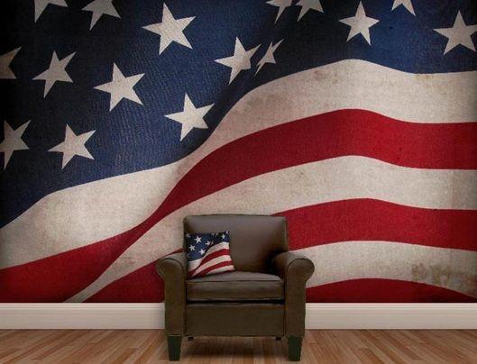 Ejemplo de decoración con bandera norteamérica